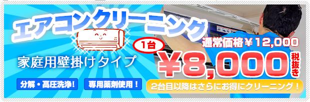エアコンクリーニング 家庭用壁掛けタイプ 1台通常価格¥12,600のところを¥8,000!